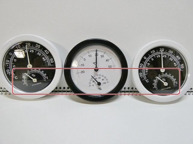 3個の湿度計